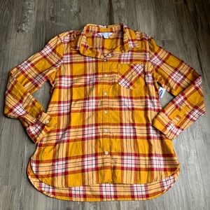 NEW Old Navy Yellow Plaid Button Up Shirt Large